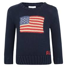 American Flag Design Ralph Lauren Baby Boys Navy Sweater With American Flag Design