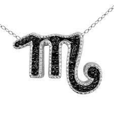 silver pendant necklace set images Black diamond pave accent scorpio zodiac pendant necklace set in