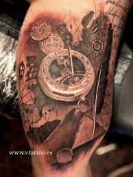 tattoo compass realistic realistic 3d compass watch tattoo idea golfian com