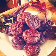 real red velvet muffins made from beets not beetles core