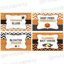 birthday halloween food labels buffet table cards