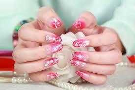 kids false nails french stiletto fake nail tips 100x full cover