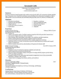 Sample Resume For Law Enforcement by Sample Resume For Security Guard Template Billybullock Us