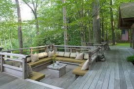 traditional deck with built in bench seating u0026 wood deck in pound