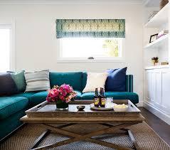 Turquoise Sectional Sofa Living Rooms Kelly Wearstler Katana Jade Teal Roman Shade