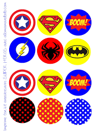 birthday party of superheroes free printable labels bunting