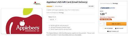applebee s gift cards newegg applebee s gift card offer 25 gift card for 20