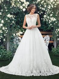 low back wedding dresses appliques neck low back wedding dress tbdress