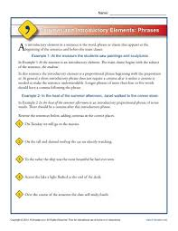 commas and introductory elements phrases punctuation worksheets