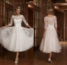 informal wedding dresses 2017 vintage tea length tulle sheer crew