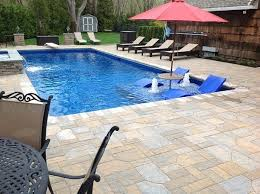 new great lakes in ground fiberglass pool by san juan fiberglass pool with tanning ledge search yard