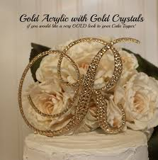 gold wedding cake topper monogram gold cake topper swarovski