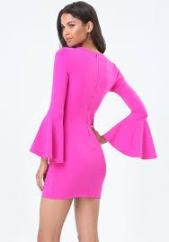 bebe bell sleeve bodycon dress in pink lyst