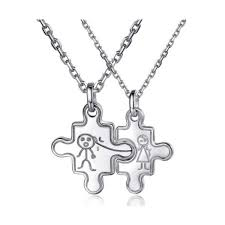 engraved necklaces for engravable silver jigsaw puzzle married couples necklaces set