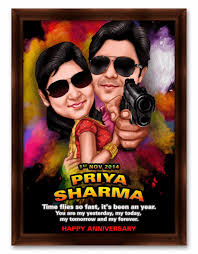 by priya captions 8 nov 2014 rowdy rathore movie style caricature gift for couple