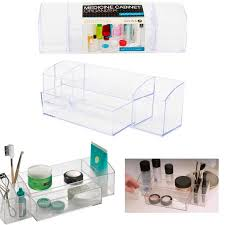 bathroom medicine cabinet organizer 5 compartments clear drawer