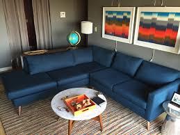 True Modern Sofa Dane Sectional Sofa With Bumper Azure True Modern