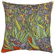 irises inspired gogh throw pillow cover embroidered 18