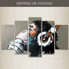 5 piece canvas wall art hand painted palette knife oil hand painted high quality 5 pieces canvas art monkey oil painting