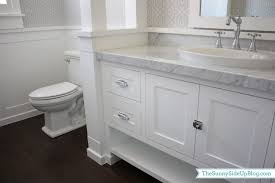 Wainscoting Shaker Style Carrara Marble Countertop Transitional Bathroom Sunny Side Up