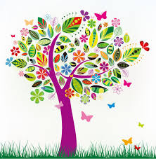 colorful floral tree vector eps format free vector