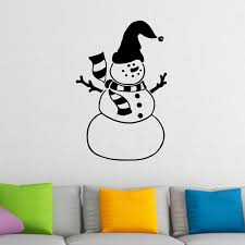 snowman wearing hat with bell christmas wall sticker world of snowman wearing hat with bell christmas wall sticker decal a