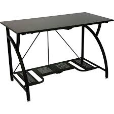 tables glass l shaped computer desk sturdy metal frame with