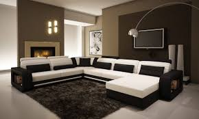 Black Leather Sectional Sofa A 1005c Contemporary Black And White Bonded Leather Sectional Sofa