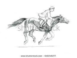 thi pencil sketch on paper rider stock illustration 640248277