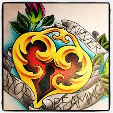 banners and lock heart tattoo design