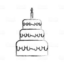 drawing birthday cake cute cupcake sketch royalty free cliparts