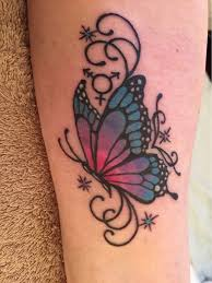 colorful butterfly on side leg