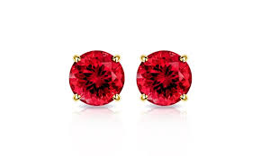 ruby stud earrings 2 00 ctw lab created ruby stud earrings in 10k gold by muiblu gems