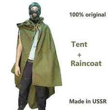 Soviet Halloween Costume Russian Soviet Army Tent Rain Coat Cloak Poncho Ussr Soldiers