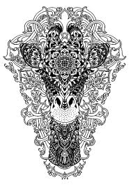 head of a giraffe animals coloring pages for adults justcolor