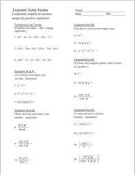 algebra unit 7 exponent rules homework worksheets bundle by