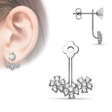 jacket earrings rhodium plated brass earring jacket w floral pattern czs