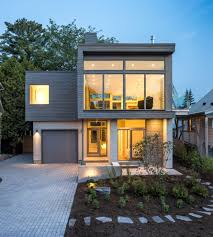 modern style home exterior contemporary with mixed siding round
