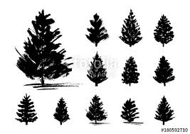 set of 11 christmas trees sketches isolated on white