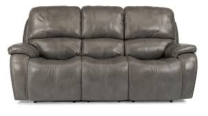 Flexsteel Reclining Sofas Power Reclining Sofa With Nailheads And Usb Charging Ports By