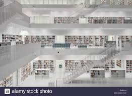 interior view of the new public library stuttgart stock photo
