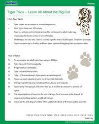 tiger trivia free science worksheet for 4th grade jumpstart