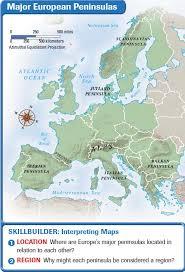 europe peninsulas map europe landforms and resources
