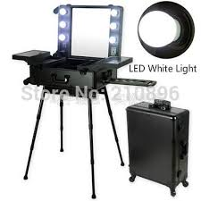makeup case with lights and mirror 2018 wholesale led white light professional aluminum makeup case