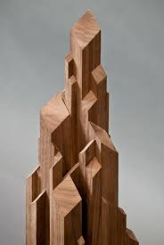 geometric wood sculpture stalagmite like wooden sculptures anthony peer