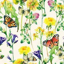 meadow watercolor flowers and butterfly seamless pattern