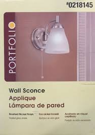 Portfolio Wall Sconce 2 Portfolio Wall Sconces Brushed Nickel Finish Frosted Glass