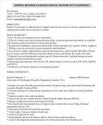 Resume Order Of Jobs The Order Of Good Chronological Resume Sample