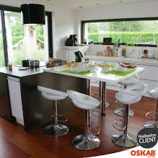 table ilot cuisine haute cuisine blanche moderne façade stecia blanc brillant kitchens