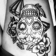 hd flower skull thigh tattoo design idea for men and women